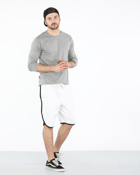Shop White-Jet Black Runner Fleece Shorts-Full