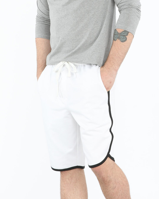 Shop White-Jet Black Runner Fleece Shorts