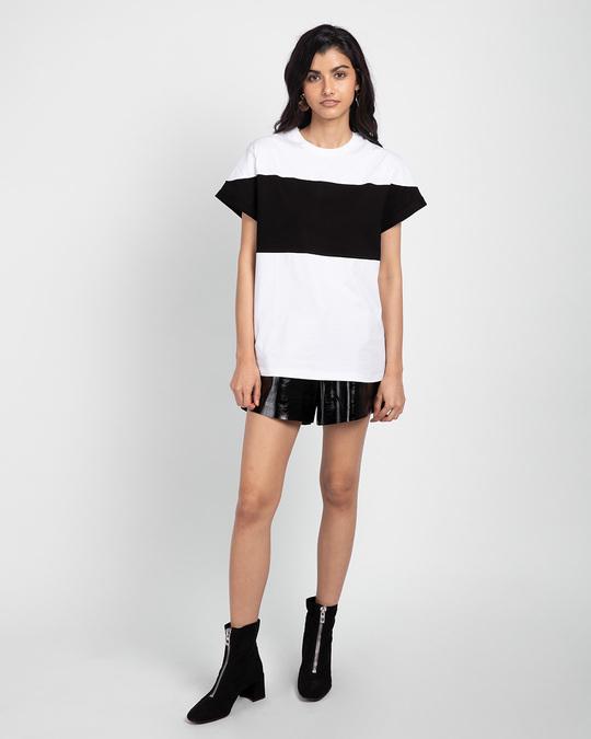 Shop White-Black-White 90's Vibe Boyfriend Panel T-Shirt-Full