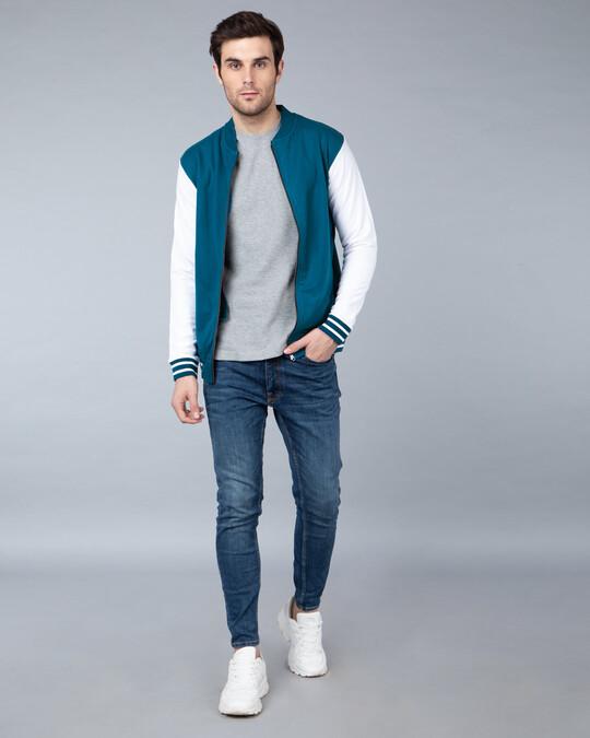 Shop Sailor Blue Varsity Bomber Jacket