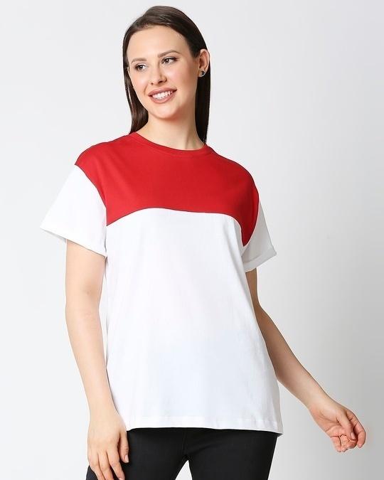 Shop White-Bold Red Color Block Boyfriend T-Shirt-Front