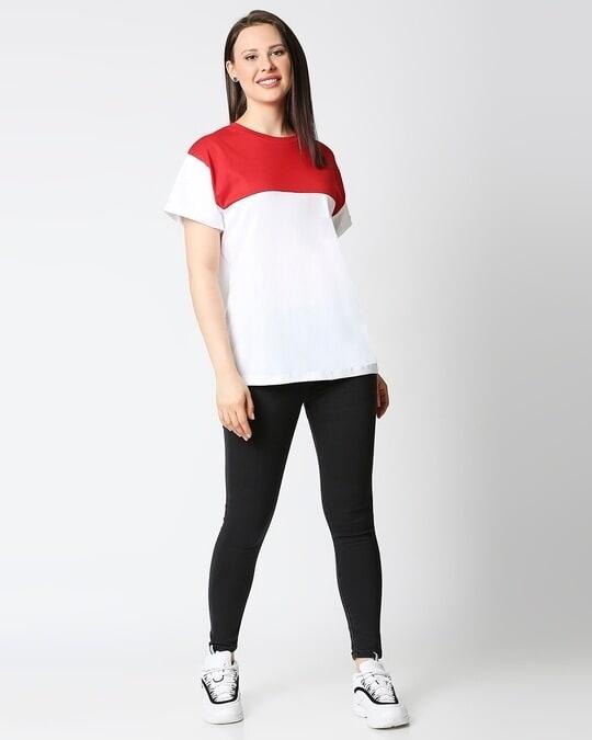 Shop White-Bold Red Color Block Boyfriend T-Shirt-Full