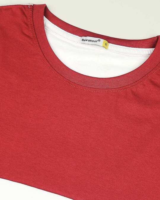 Shop White-Bold Red Color Block Boyfriend T-Shirt