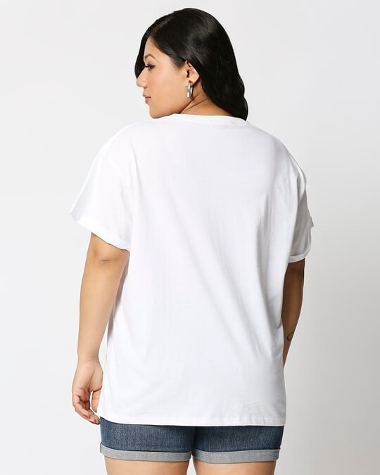Shop White Boyfriend Plus Size T-Shirt-Design