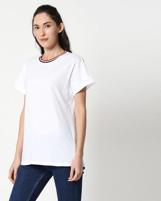 Shop White Boyfriend Varsity Rib T-shirt-Back