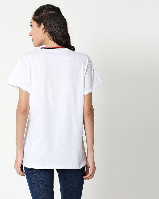 Shop White Boyfriend Varsity Rib T-shirt-Full
