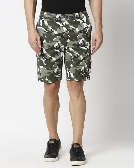 Shop White Camo Men's Shorts-Back