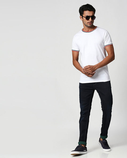 Shop White Crewneck Varsity Rib Half Sleeves T-shirt-Full