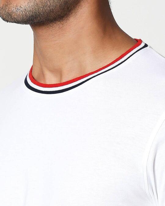 Shop White Crewneck Varsity Rib Half Sleeves T-shirt