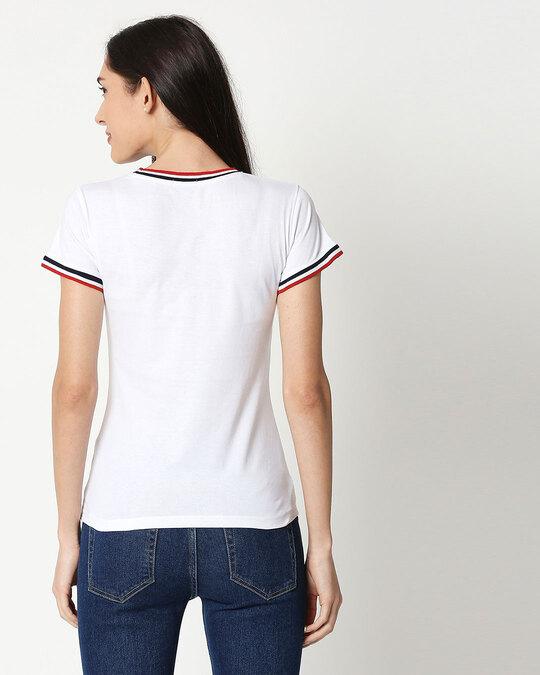 Shop White Crewneck Varsity Rib Half Sleeves T-shirt-Design