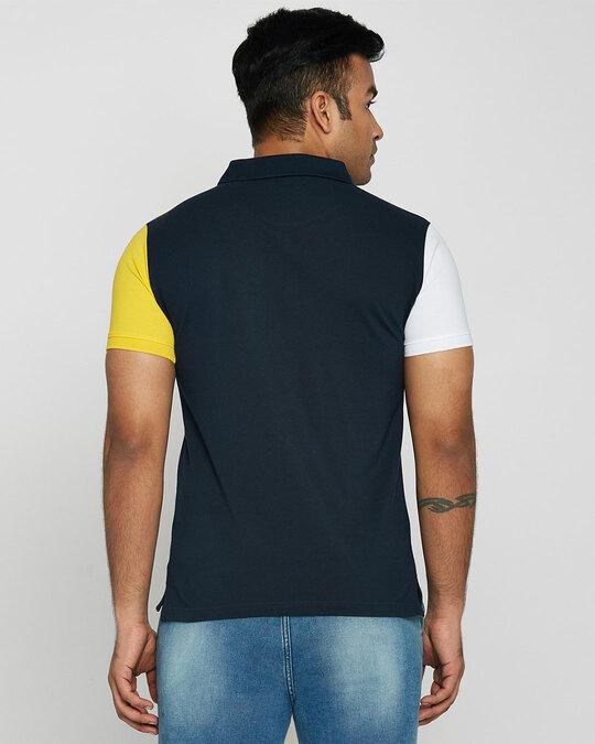 Shop White-Cyber Yellow-Dark Navy Half & Half Polo T-Shirt-Design
