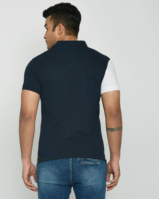Shop White-Dark Navy-Cyber Yellow Asymmetric Polo T-Shirt-Design