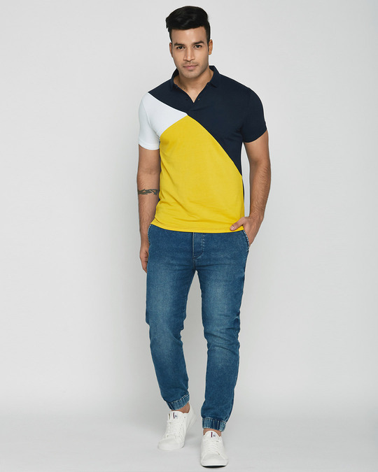 Shop White-Dark Navy-Cyber Yellow Asymmetric Polo T-Shirt-Full