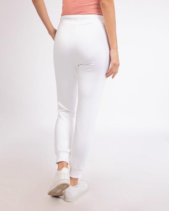 Shop White Fleece Joggers-Design