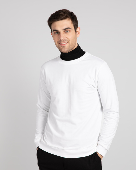 Shop White Fleece Sweater-Front