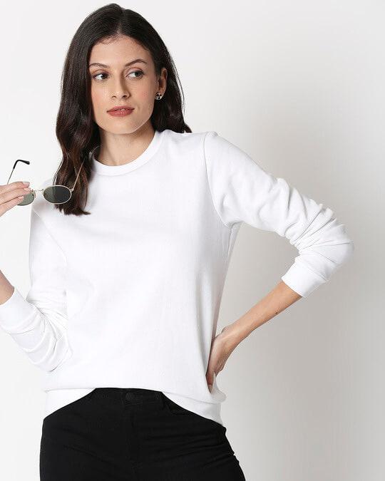 Shop White Fleece Sweatshirt-Front