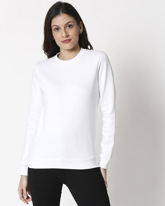 Shop White Fleece Sweatshirt-Back