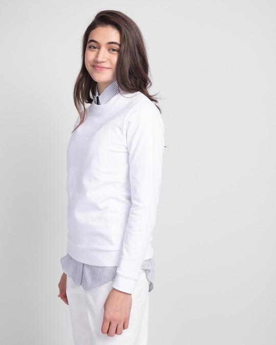 Shop White Fleece Light Sweatshirt-Back