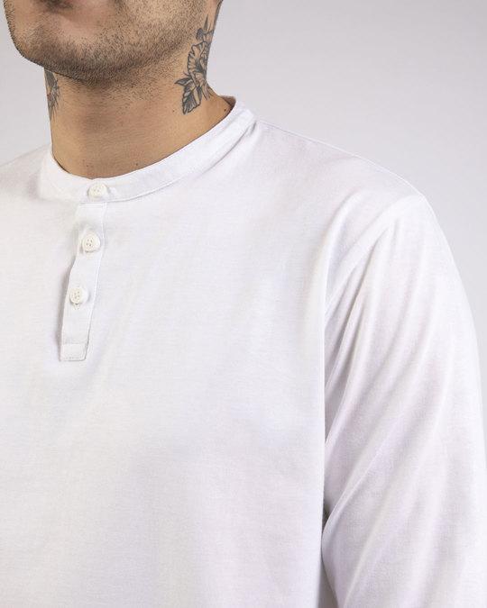 Shop White Full Sleeve Henley T-Shirt-Full