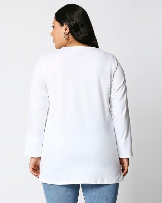 Shop White Full Sleeve Plus Size T-Shirt-Design