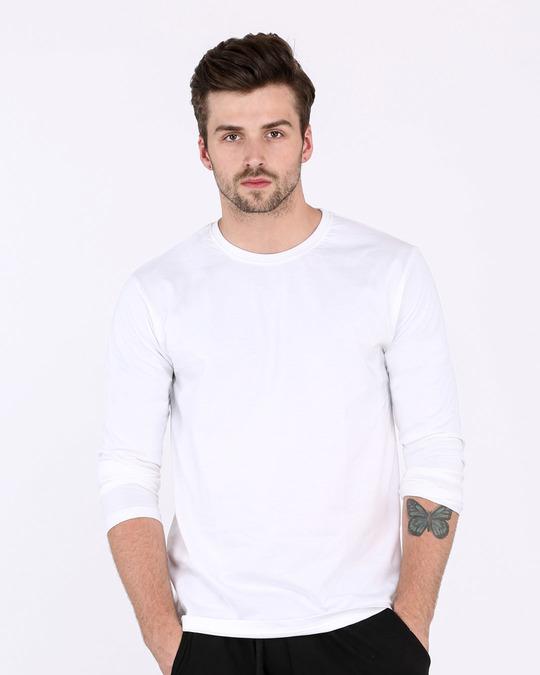 b5041c361e4 White Plain Long Full Sleeve T-Shirts for Men Online at Bewakoof.com