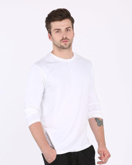 Shop White Full Sleeve T-Shirt-Full