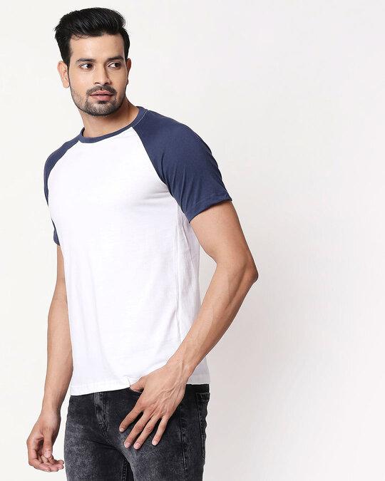 Shop White Galaxy Blue Half Sleeve Raglan T-Shirt-Back