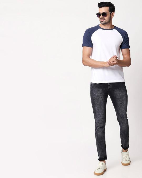 Shop White Galaxy Blue Half Sleeve Raglan T-Shirt-Full