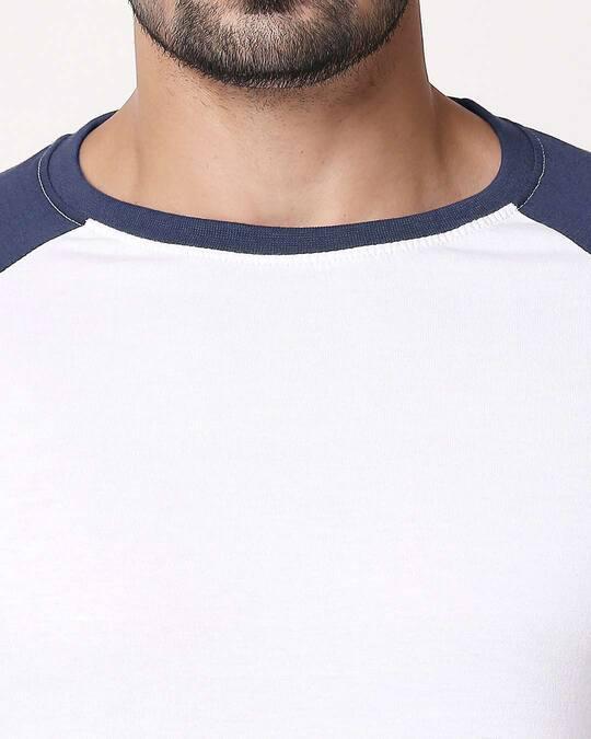 Shop White Galaxy Blue Half Sleeve Raglan T-Shirt