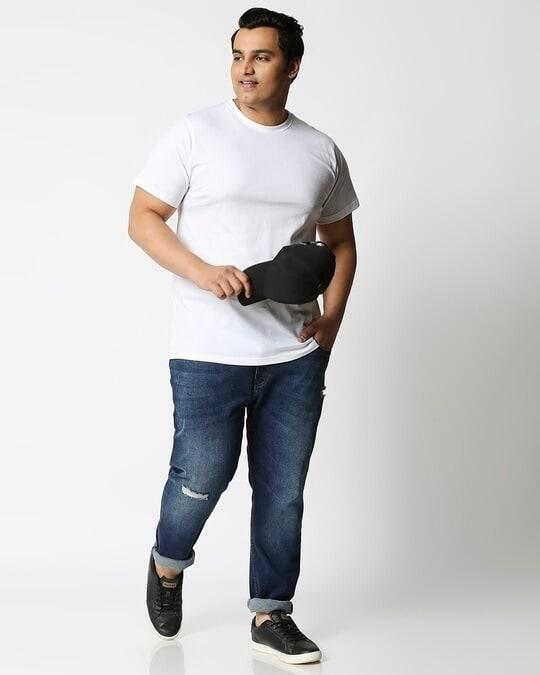 Shop White Half Sleeve Plus Size T-Shirt-Full