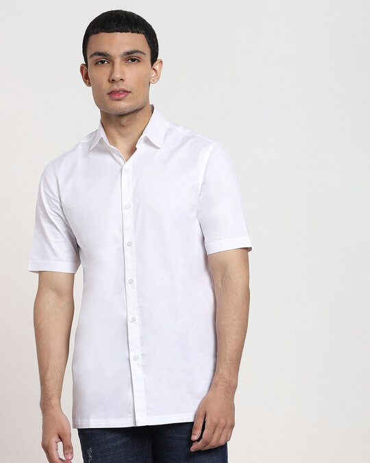 Shop White Half Sleeve Solid Shirt-Front