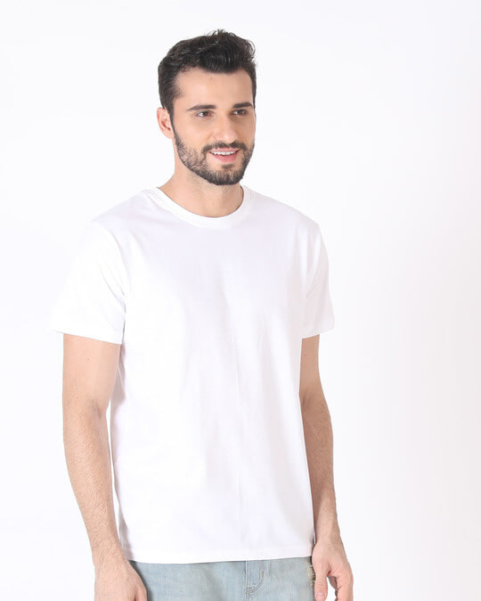 Shop White Half Sleeve T-Shirt-Back