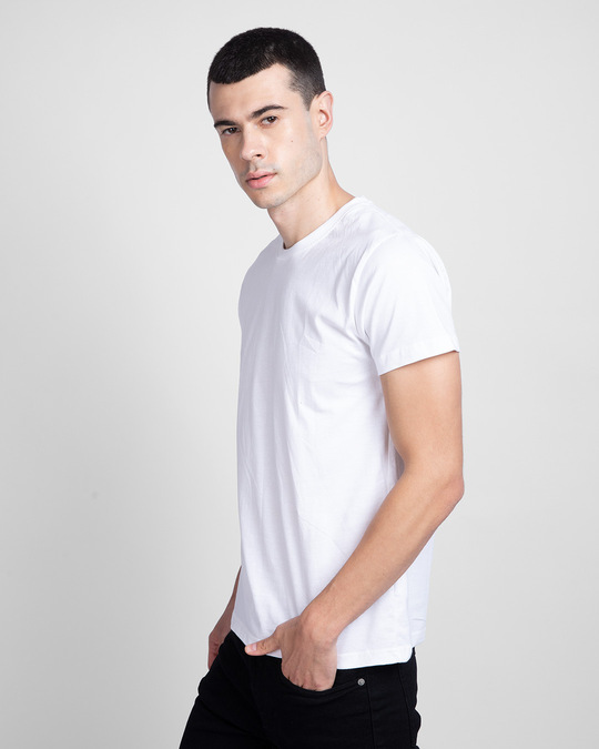 Shop White Half Sleeve T-Shirt-Back