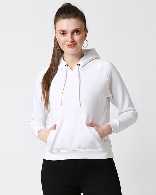 Shop White Hoodie Sweatshirt-Front