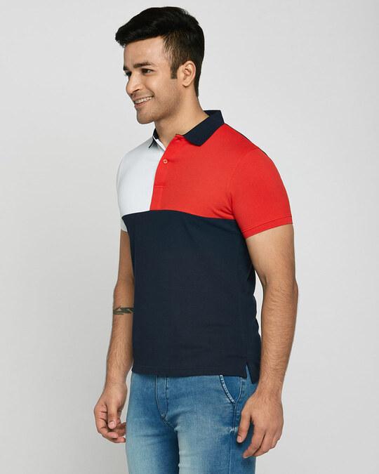 Shop White-Imperial Red-Dark Navy Half & Half Polo T-Shirt-Back