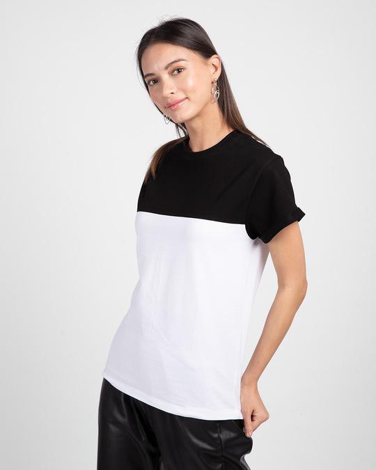 Shop White-Jet Black 90's Vibe Boyfriend Panel T-Shirt-Back