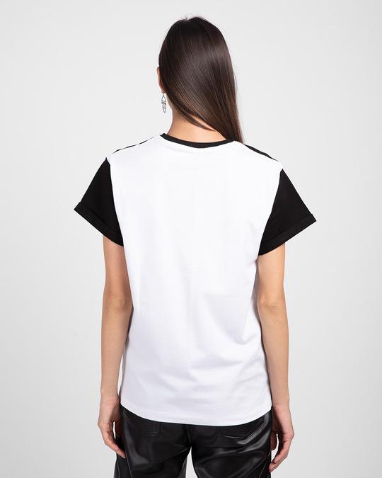 Shop White-Jet Black 90's Vibe Boyfriend Panel T-Shirt-Full