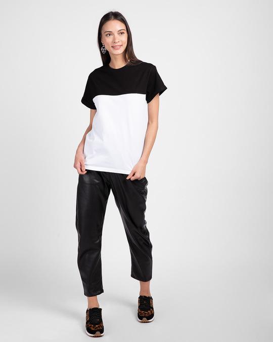 Shop White-Jet Black 90's Vibe Boyfriend Panel T-Shirt