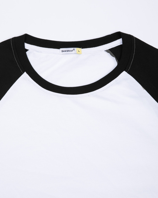 Shop White-Jet Black Full Sleeve Raglan T-Shirt