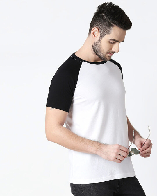 Shop White-Jet Black Half Sleeve Raglan T-Shirt-Front