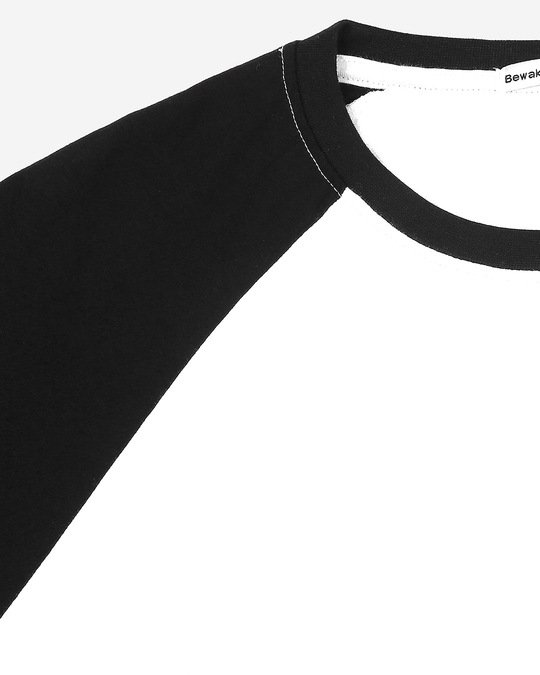 Shop White-Jet Black Half Sleeve Raglan T-Shirt