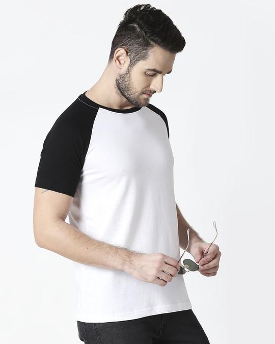 Shop White-Jet Black Half Sleeve Raglan T-Shirt-Front