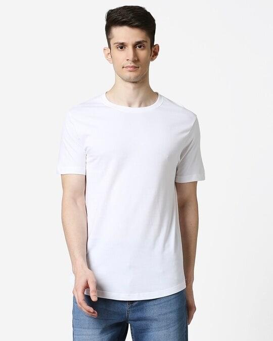 Shop White Longline T-Shirt-Back