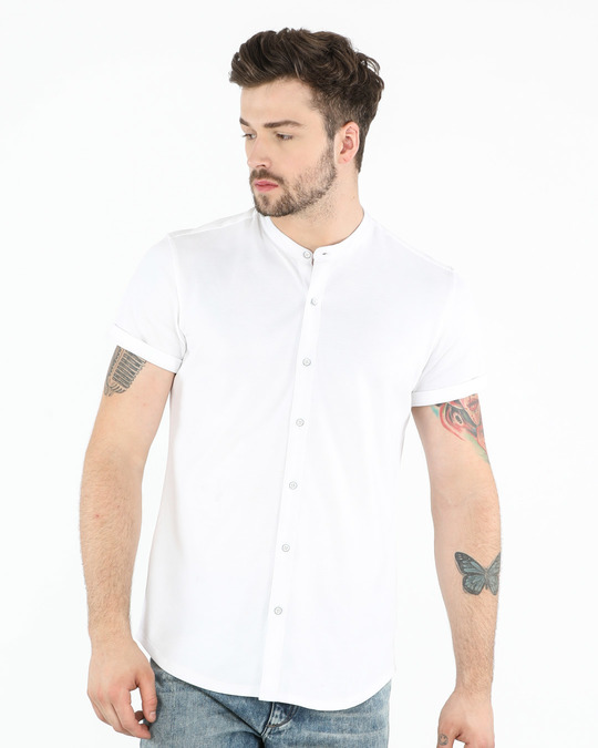 Shop White Mandarin Collar Pique Shirt-Front