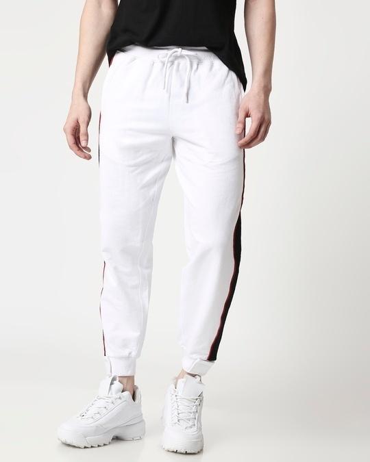 Shop Men Contrast Velcro Detailed Color Block White Joggers-Front