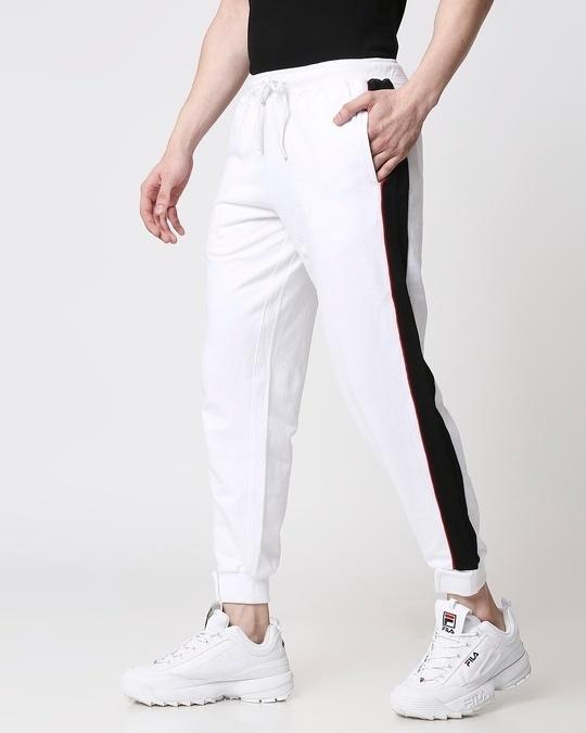 Shop Men Contrast Velcro Detailed Color Block White Joggers-Design