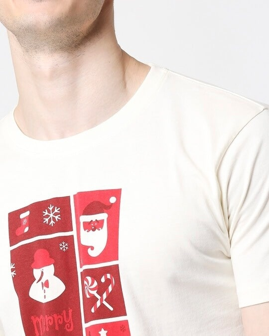Shop Men Santa Chest Printed Half Sleeves White T-shirt