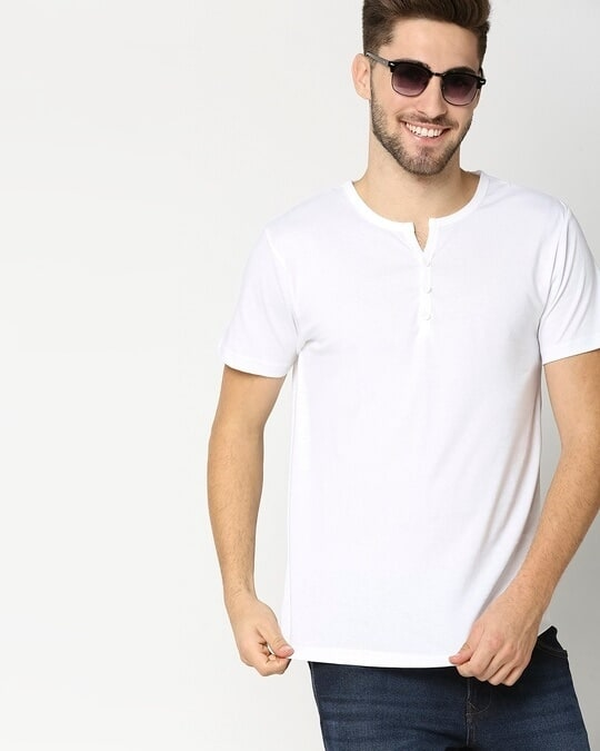 Shop White Henley Half Sleeves T-shirt-Front