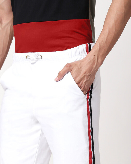 Shop White Men's Side Panel Shorts