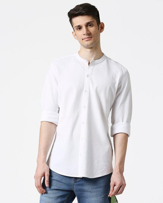 Shop Comfort Stretch Pique Knit White Shirt-Front